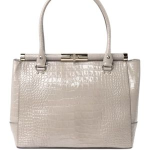 Kate Spade♠️ croc embossed leather tote soft taupe